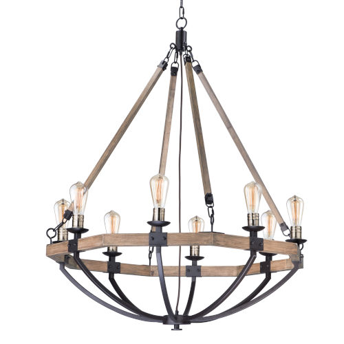 Lodge Weathered Oak and Bronze 38-Inch Eight-Light Adjustable Chandelier