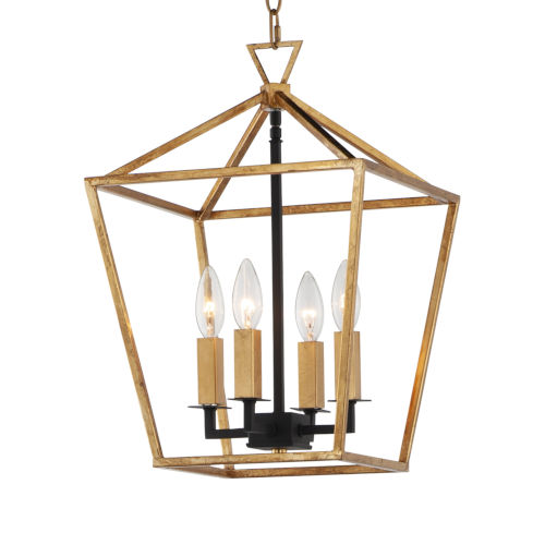 Abode Gold Leaf and Textured Black Four-Light Chandelier