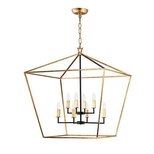 Abode Gold Leaf and Textured Black Eight-Light Adjustable Chandelier