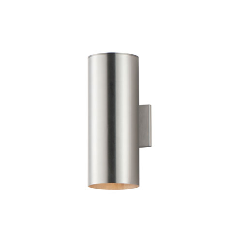 Outpost Brushed Aluminum Two-Light 15-Inch Outdoor Wall Mount