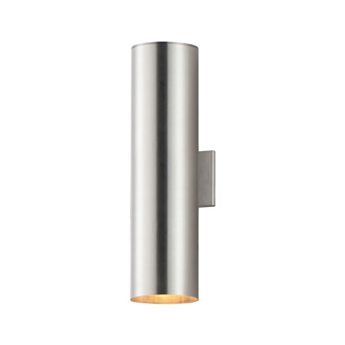 Outpost Brushed Aluminum Two-Light 22-Inch Outdoor Wall Mount