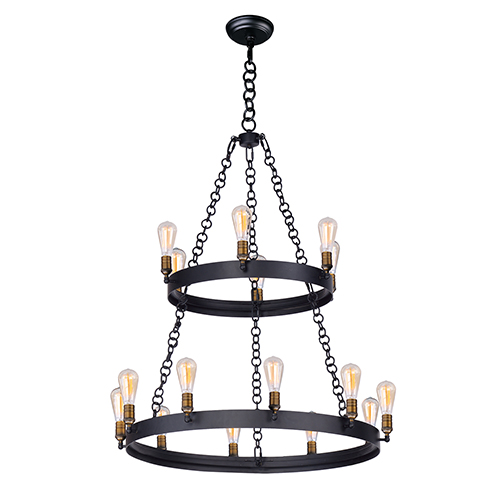 Maxim Lighting International Noble Black and Natural Aged Brass 16-Light Chandelier