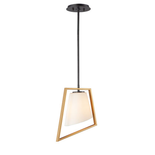 Oblique Gold and Black One-Light Mini Pendant