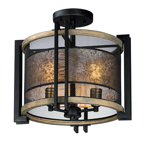 Boundry Black Barn Wood and Antique Brass Three-Light Flush Mount