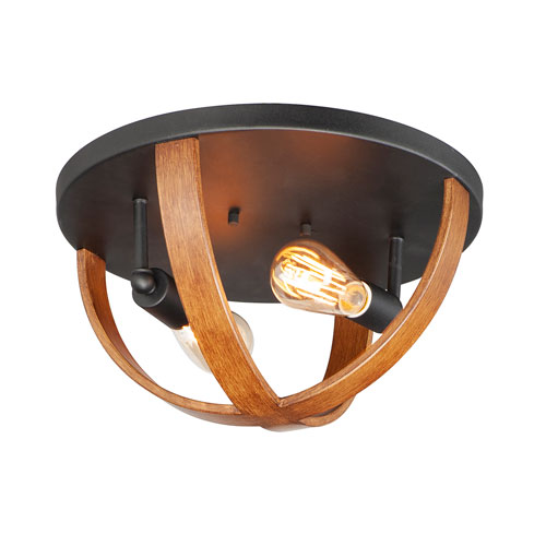 Compass Antique Pecan and Black Two-Light Flush Mount