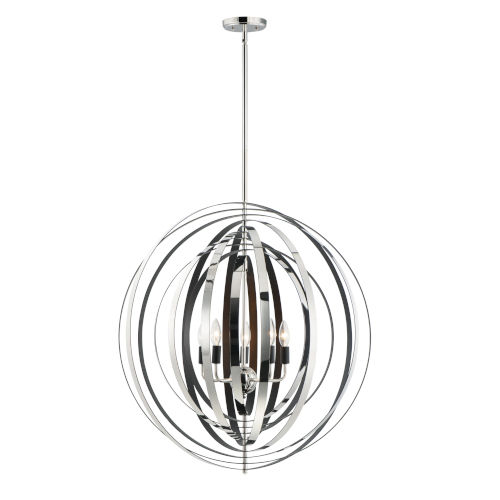 Radial Polished Nickel and Black 31-Inch Five-Light Pendant
