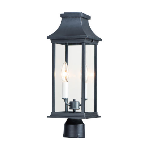 Vicksburg Black Two-Light Outdoor Post Mount