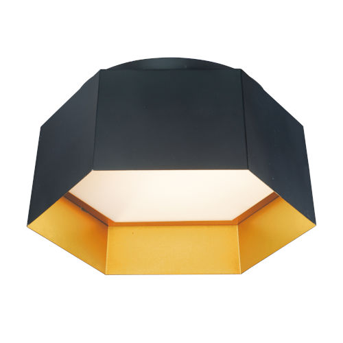 Honeycomb Black and Gold One-Light LED Flush Mount