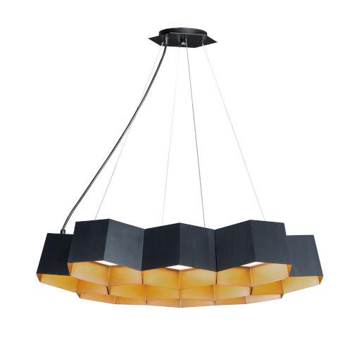 Honeycomb Black and Gold 10-Light LED Pendant
