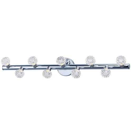 Bejewel LED Polished Nickel and Satin Nickel 34-Inch Nine-Light Bath Vanity