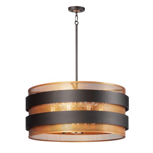 Caspian Oil Rubbed Bronze and Antique Brass Eight-Light Pendant