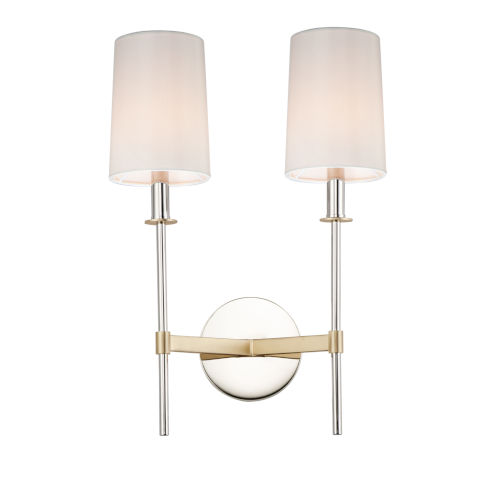 Uptown Satin Brass and Polished Nickel Two-Light Wall Sconce