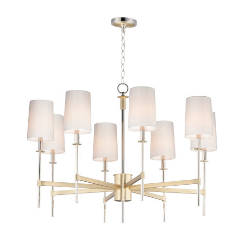 Uptown Satin Brass and Polished Nickel Eight-Light Chandelier