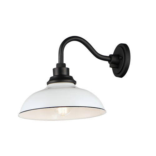 Granville White and Black One-Light Outdoor Wall Mount