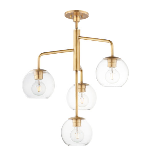 Branch Natural Aged Brass Four-Light Pendant