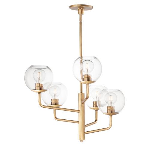 Branch Natural Aged Brass Five-Light Chandelier