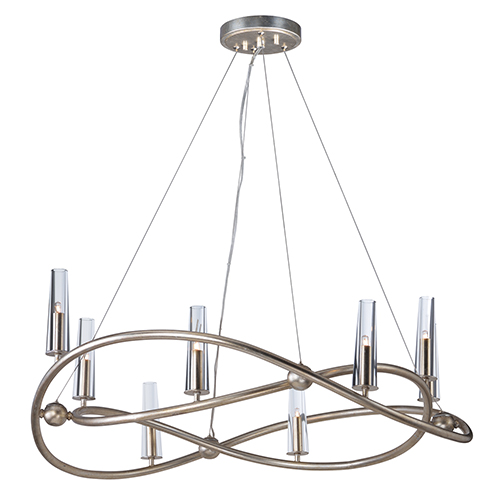 Entwine Golden Silver 36-Inch Eight-Light Chandelier