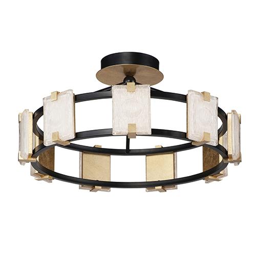 Radiant Black and Gold Leaf Nine-Light Integrated LED Flush Mount