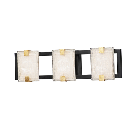 Radiant Black and Gold Leaf Three-Light Integrated LED ADA Wall Sconce