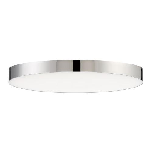 Trim Polished Chrome One-Light ADA LED Flush Mount with Polycarbonate Shade 3000 Kelvin 1280 Lumens