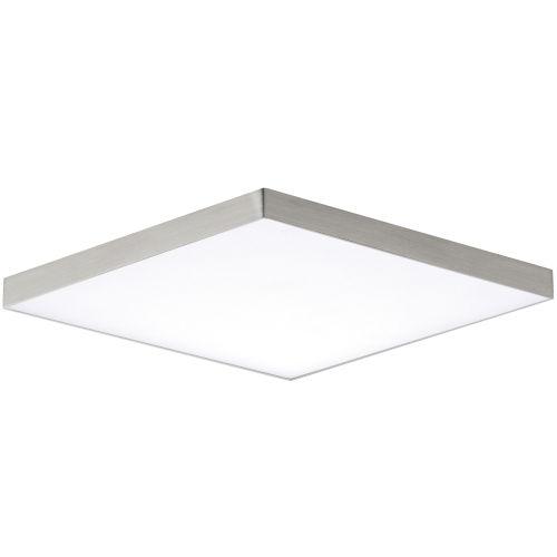 Trim Satin Nickel One-Light ADA LED Flush Mount with Polycarbonate Shade 3000 Kelvin 1450 Lumens