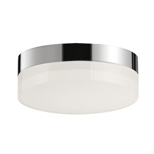 Illuminaire Ii Polished Chrome One-Light LED Flush Mount with Acrylic Shade 3000 Kelvin 920 Lumens