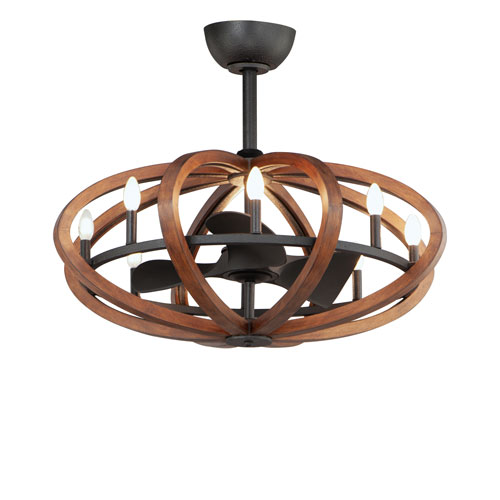 Bodega Bay Antique Pecan and Anthracite Eight-Light LED Fandelight