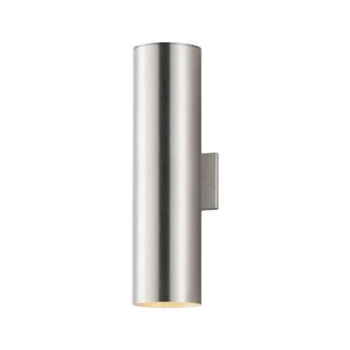 Outpost Brushed Aluminum 22-Inch Two-Light LED Outdoor Wall Mount
