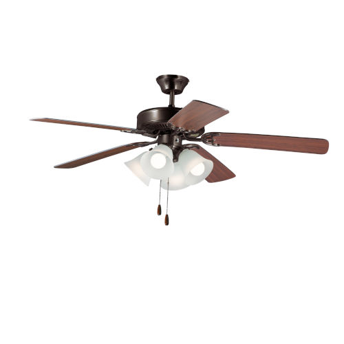 Basic-Max Oil Rubbed Bronze and Walnut and Pecan Four-Light LED Indoor Ceiling Fan