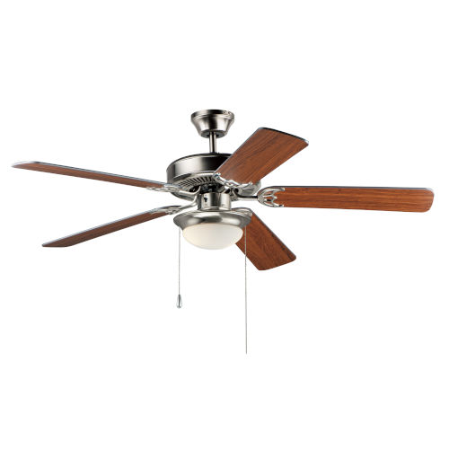 Basic-Max 52 Inch Ceiling Fan with LED Light Satin Nickel, Walnut and Pecan Blades