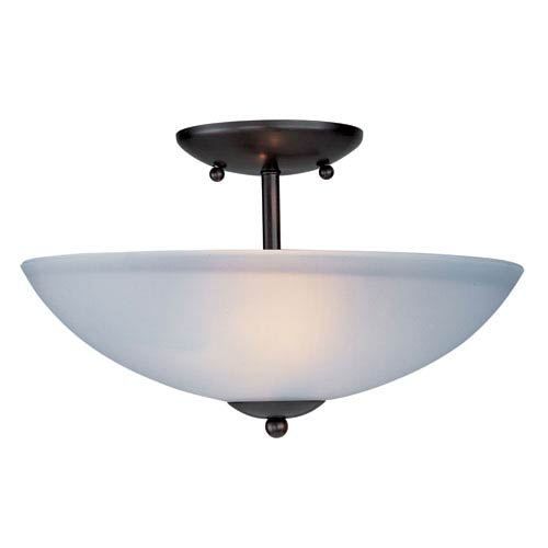 Maxim Lighting International Logan Oil Rubbed Bronze Two Light Semi-Flush Mount with Frosted Glass Shade