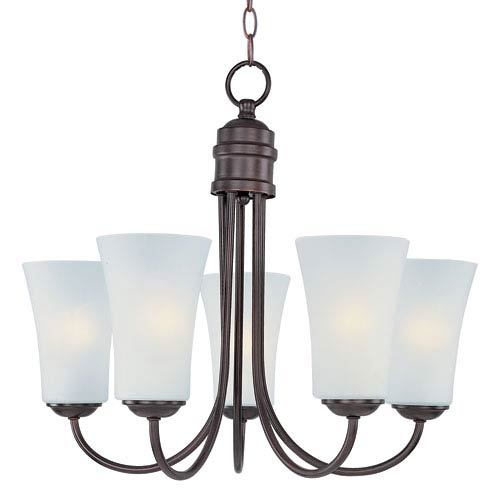 Logan Oil Rubbed Bronze Five Light Single-Tier Chandelier with Frosted Glass Shade