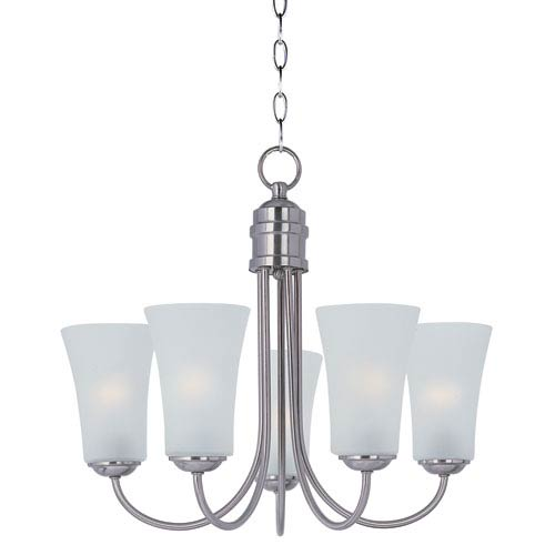 Logan Satin Nickel Five Light Single-Tier Chandelier with Frosted Glass Shade
