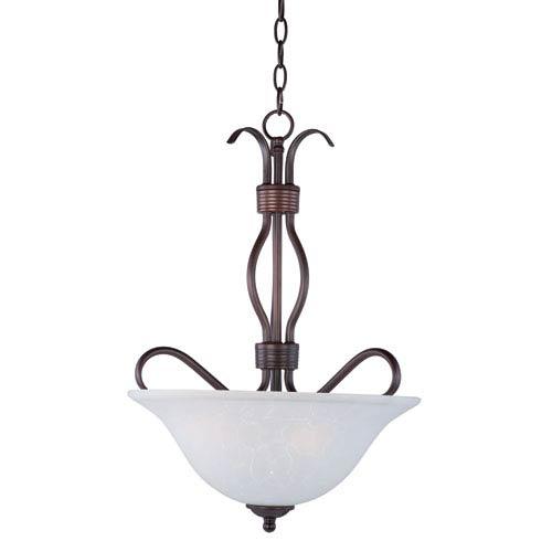Maxim Lighting International Basix Oil Rubbed Bronze Three Light Invert Bowl Pendant with Ice Glass