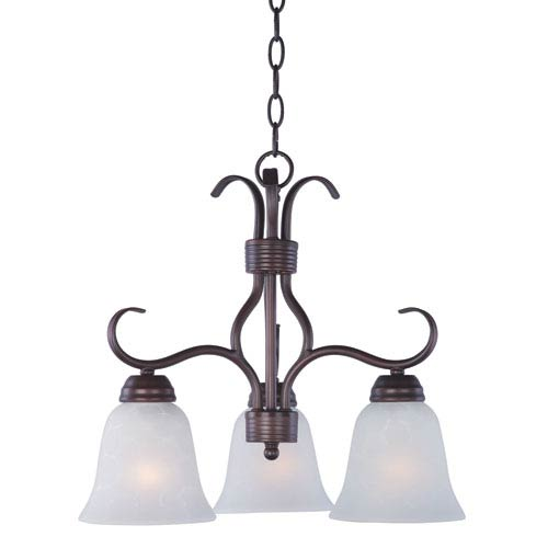 Basix Oil Rubbed Bronze Three Light Chandelier with Ice Glass