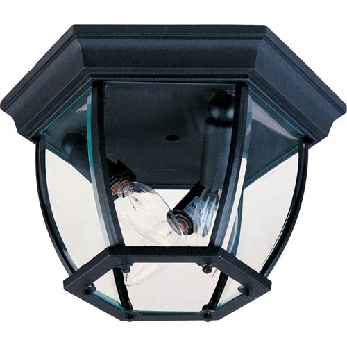 Black Three-Light Outdoor Flushmount