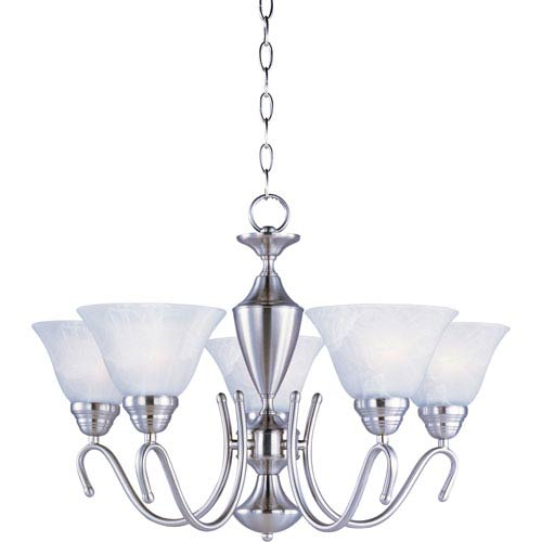 Maxim Lighting International Newport Satin Nickel Five-Light Chandelier with Marble Glass