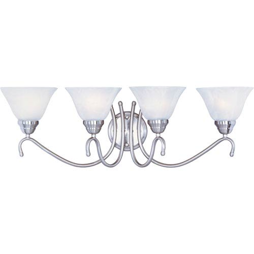 Maxim Lighting International Newport Satin Nickel Four-Light Bath Light with Marble Glass