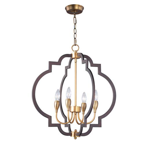 Maxim Lighting International Crest Oil Rubbed Bronze and Antique Brass Four-Light Chandelier