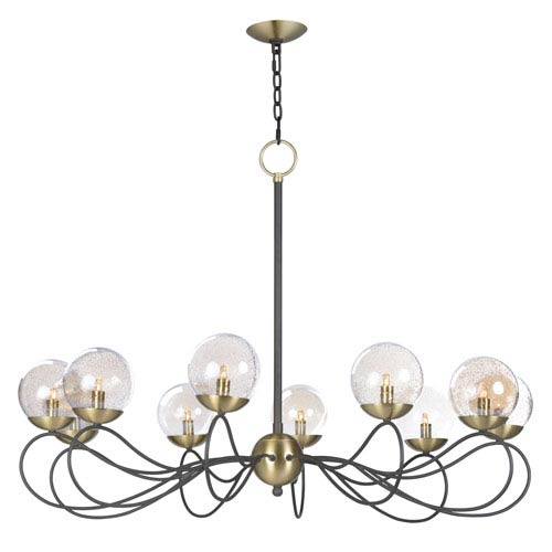 Maxim Lighting International Reverb Textured Bronze and Satin Brass 38-Inch 10-Light LED Chandelier