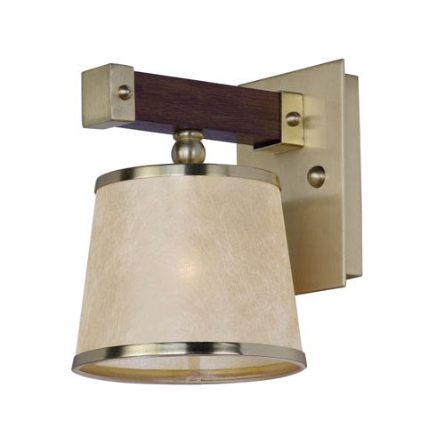 Maritime Antique Pecan and Satin Brass One-Light Wall Sconce