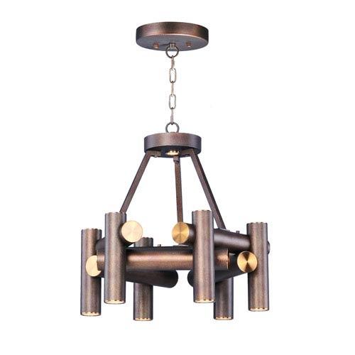 Maxim Lighting International Tubular LED Bronze Fusion and Antique Brass Seven-Light LED Pendant