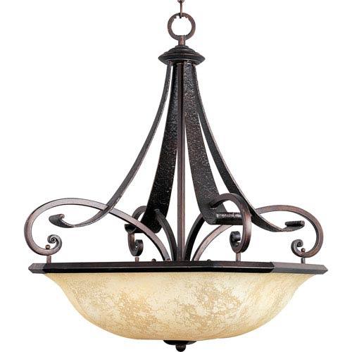 Maxim Lighting International Oak Harbor Rustic Burnished Four-Light Bowl Pendant with Frost Lichen Glass