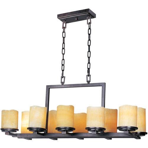 Rustic Ebony Luminous Ten-Light Rectangle Chandelier