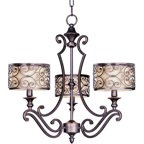 Mondrian Umber Bronze Three-Light Chandelier