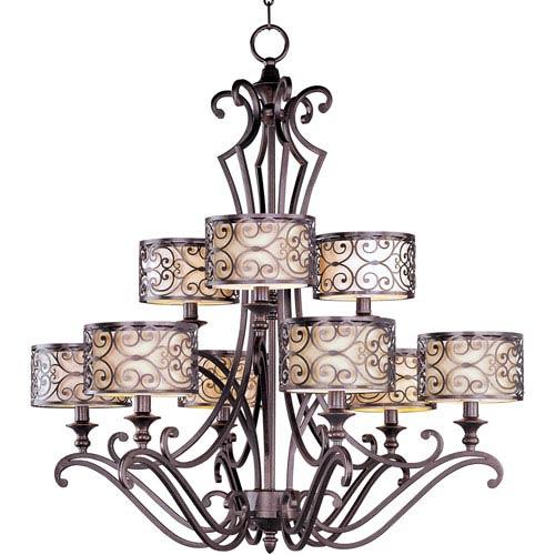 Mondrian Umber Bronze Nine-Light Multi-Tier Chandelier