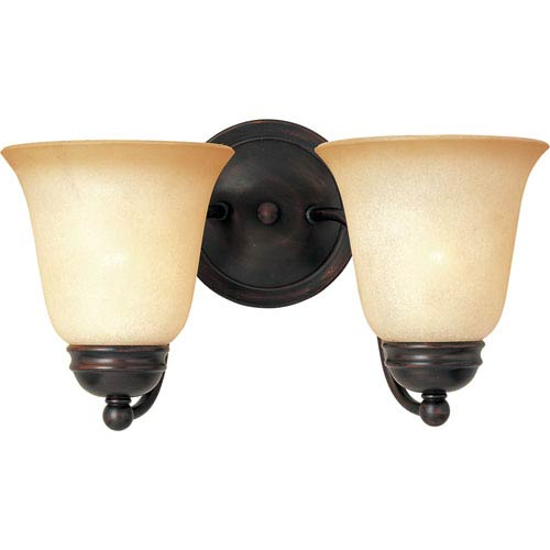 Basix Oil Rubbed Bronze Two-Light Sconce with Wilshire Glass