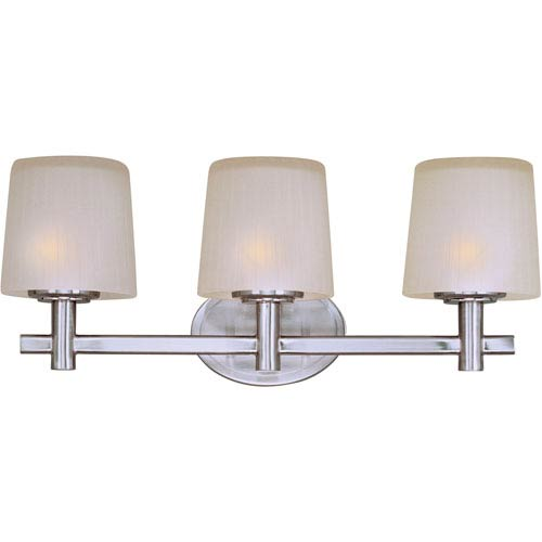 Maxim Lighting International Finesse Satin Nickel Three-Light Bath Light with Frosted Glass