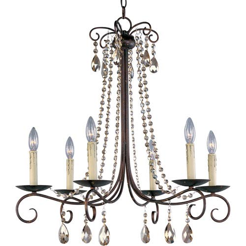 Adriana Urban Rustic 27-Inch Wide Six-Light Single-Tier Chandelier
