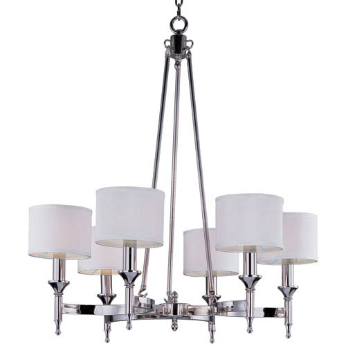 Maxim Lighting International Fairmont Polished Nickel 32-Inch Six Light Single-Tier Chandelier